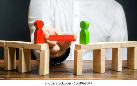 A man makes contact between people opponents. Arbitrator and mediator. Build bridges, seek a compromise in disputes and reconciliation of conflicts. Networking in business. Negotiation platform