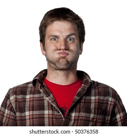 Man makes a funny face, isolated image