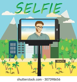 Man makes selfie using a monopod and a smartphone