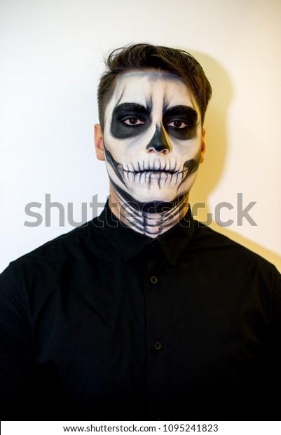 Man Makeup Halloween Drawing Vampire Skeleton Stock Photo