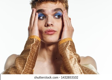 man with makeup transvestite portrait