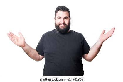 Man making gesture with open hands and happy isolated on white background