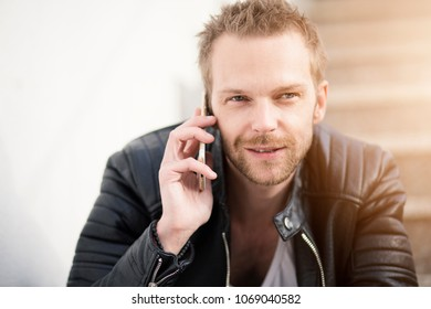 Man making phonecall outside