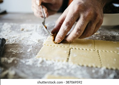 Man making ravioli, Italian cuisine and gluten-free