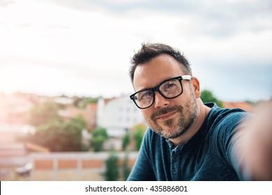 Man making selfie outdoor