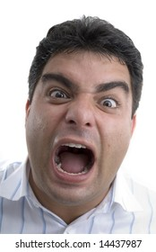 Man making a stress or fear expression