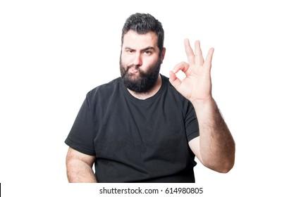 Man making taste gesture isolated on white background