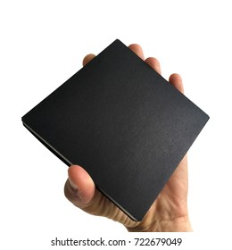 A man male hand holds empty black box isolated.