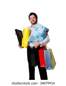 Man with many bags from shopping