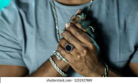 Man with many jewels