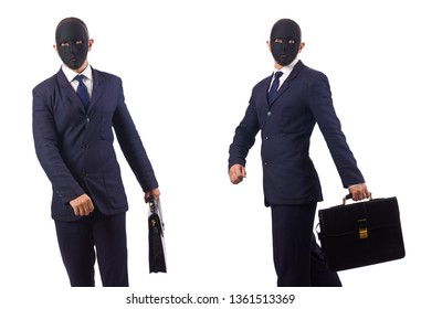 Man with mask and briefcase isolated on white