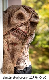 man with the mask of a creepy scarecrow looking through a window
