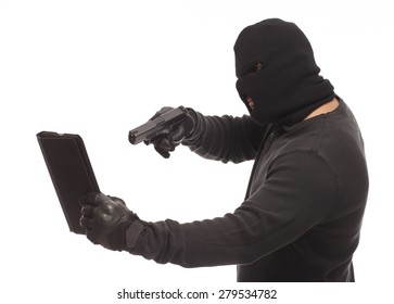 Man in a mask with a gun and digital tablet on a white background.