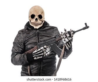 The man in mask of skeleton armed with kalashnikov isolated on a white background. Grim reaper with automatic weapon.