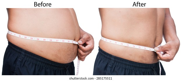 Man measuring belly fat itself,before and after between fat and thin