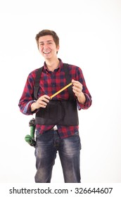 man with measuring tape handyman on white background