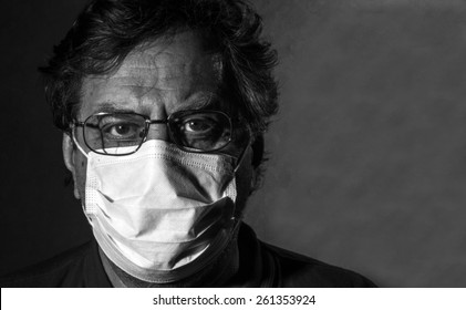 Man in a medical mask. Black and white