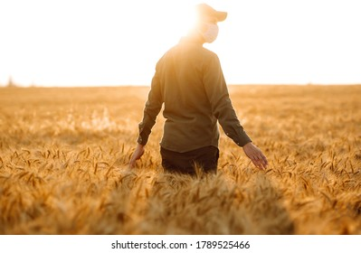 Man in medical mask with his back to the viewer In a field of wheat touched by the hand of spikes during pandemic. Agro business. Harvesting. Covid-2019. - Shutterstock ID 1789525466