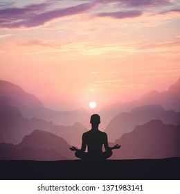 Man meditating on high mountain in sunset background. Square frame