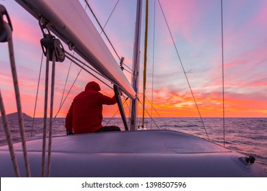 Man meets the dawn on yacht
