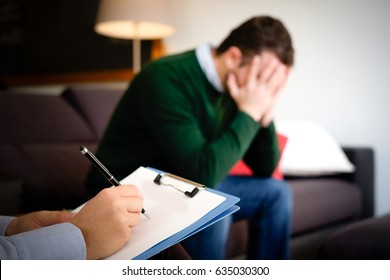 Man with mental health problem in the psychiatrist studio