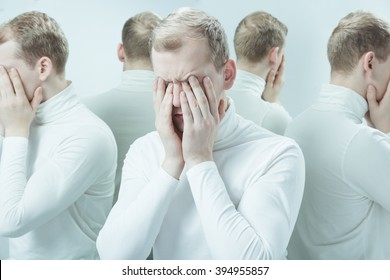 Man with mental problem covering his face with hands, duplicated image