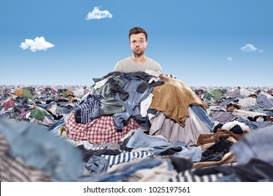 Man in a mess of laundry