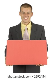 man with message board