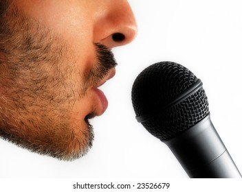 Man and microphone