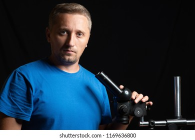 Man with microscope