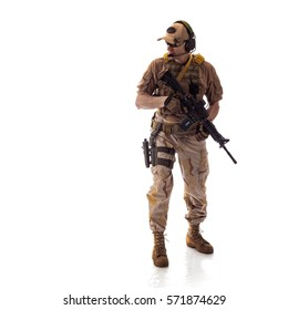 man military outfit a mercenary soldier in modern times on a white background in studio