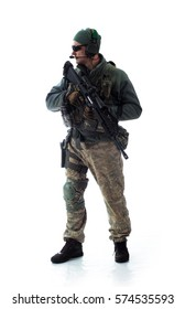 man military outfit a soldier in modern times on a white background in studio