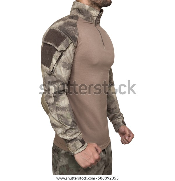 Man in military uniform, camouflage, isolated white background