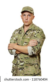 A man in military uniform, camouflage. White background. Isolated.
