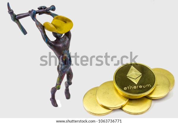Man Miner Hat Pickaxe Ethereum Bitcoin Stock Photo (Edit Now) 1063736771