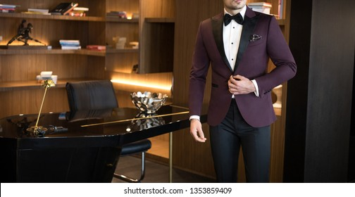 Man model in expensive custom tailored tuxedo, suit standing in his office and posing