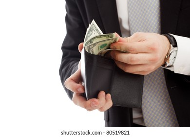 Man with money. Isolated over white.