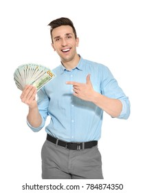 Man with money on white background