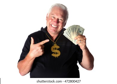 Man with money smiling and pointing at cash in his hand. Isolated on white with room for your text.