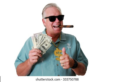 a man with money wins has sniffs loves and his is rich the lottery gets paid