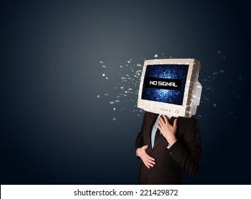 Man Monitor Head No Signal Sign Stock Photo (Edit Now