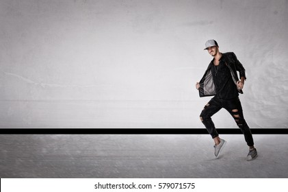 man moon walking dance, light background
