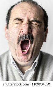 man mouth mostacho yawn