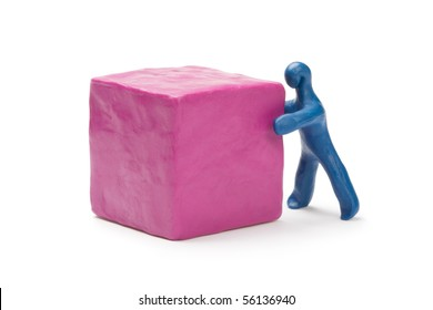Man moving cube. Plasticine.