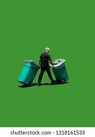 Man moving garbage collectors