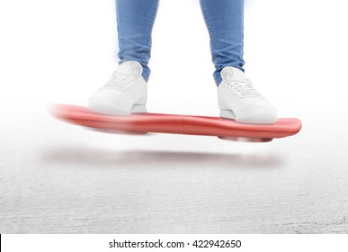 Man moving on red hover board scooter isolated. Smart hoverboard movie scoter. No wheel futuristic transport device. Future transportation technology. driver. Person ride antigravity levitation