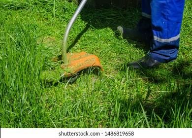 Man mows electric grass high lawn grass