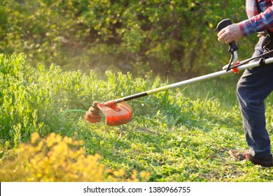 man mows the lawn grass with a lawn mower