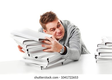 Man with too much work to do. Isolated on white background