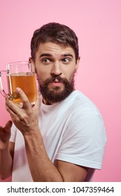 man with a mug of beer, alcohol